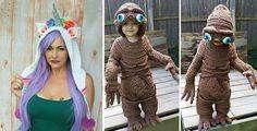 Мама связала крючком для своего сына необычный костюм инопланетянина
