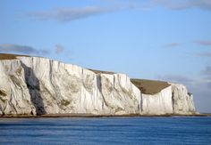 The famous white cliffs of Dover, England, seen from the deck of the ferry to France. November 2006.