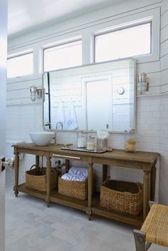 Long vanity with sink off set to one side, I like it! Picture windows, narrow console as vanity, large scale mirror Beach Bathrooms, Dream Bathrooms, Beautiful Bathrooms, Bad Inspiration, Bathroom Inspiration, Bathroom Ideas, Deco Marine, Eclectic Bathroom, Bathroom Windows