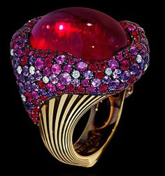 "Mousson Atelier New Age """"Mox"""" Gold Tourmaline & Sapphire Ring R0054-0/1"