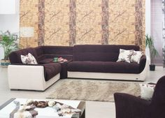 Cream Vinyl & Dark Brown Fabric Modern Sectional Sofa w/Options