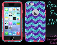 "OTTERBOX iPhone 6 Case - 4.7"" iPhone 6 Otterbox Commuter Glitter Case - Paradise/Purple/Pink Small Chevron Glitter Sparkly New iPhone 6"