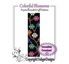 Colorful+Blossoms++Beaded+Peyote+Bracelet+by+FUNPATTERNDESIGNS