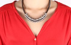 Links That Bind (dark Silver) Necklace $49 - We cannot deny our love of good metallics. Links that Bind mixes the beefy and the bling - what a great combo.