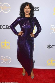 Getting noticed: Black-ish star Tracee Ellis Rose arrived in a dramatic asymmetrical purple sequinned gown with silver sparkly shoes Asymmetrical Hairstyles, Short Hairstyles For Women, Asymmetrical Dress, Silver Sparkly Shoes, Pantone, Carol Burnett, Tracee Ellis Ross, Tessa Thompson, Violet