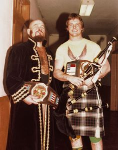 cryptofwrestling:  Roddy Piper with his Mid-Atlantic Heavyweight belt, and M.A. TV champion Ivan Koloff. (1980)