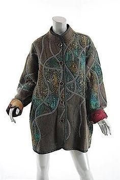 KOOS Van Den Akker Multi Mohair Patchwork Reversible Coat- WORK OF ART -USA- O/S