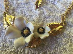 Romantic Vintage 80's Paris Designer Louis Feraud Flower Blossoms Necklace #LouisFeraud