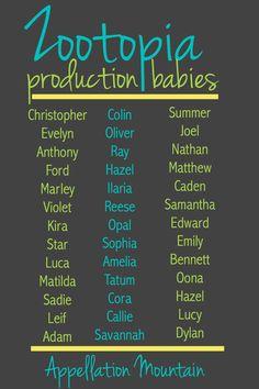 Zootopia Production Babies March 2016 babies baby boy names Boy Names strong Boy Names uncommon Boy Names unique Hipster Boy Names, Baby Girl Names, Baby Boy, Disney Baby Names, Unisex Baby Names, Name List, Beautiful Baby Girl, Character Names, Zootopia