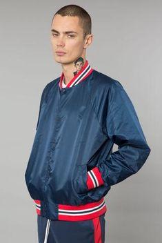 Navy/Red Nylon Varsity Jacket Red Fashion, Urban Fashion, Elwood Clothing, Urban Street Style, Bomber Jacket Men, Mens Joggers, Striped Shorts, Hoodies, Sweatshirts