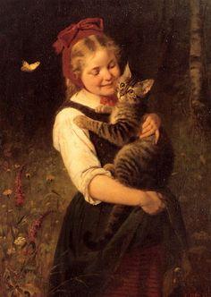 Girl With Cat - German Artist Rudolf Epp (1834-1910)