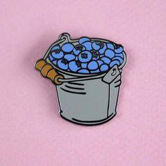 Blueberry Bucket Enamel Pin – Shiny Apple Studio