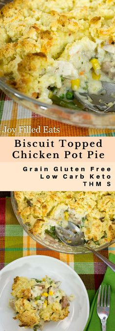 Low Carb Chicken Pot Pie with Biscuit Topping - Grain & Gluten Free, THM S, Keto - My Low Carb Chicken Pot Pie is comfort food at it's finest. It is full of vegetables, chicken, a rich creamy sauce, and then topped with a cheesy biscuit.