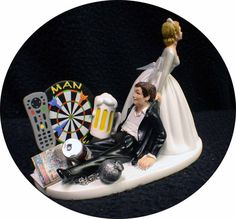 Man Cave Darts board Wedding Cake Topper Bride & by YourCakeTopper