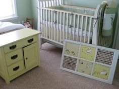 nursery with hand painted vintage window  panes