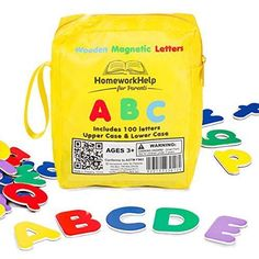 Classic Of 100 Wooden Magnetic Letters 1 Upper & 2 Lower Case Alphabets Plus Ext