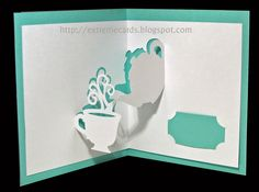 teapot and cup pop up card printable for paper cutting. Cuttling files - free in pdf, svg, dxf and silhouette studio. #papercraft #popupcard #freeprintable http://extremecards.blogspot.com/2014/06/teapot-and-cup-pop-up-card.html