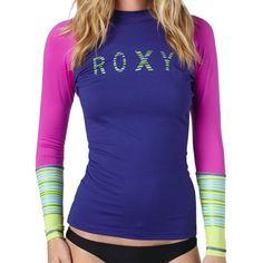 Roxy Perfect Stripe Rashguard - Long-Sleeve - Women's Deep Blue/Ultraviolet/Lime