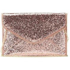 Charlotte Russe Glitter Convertible Evelope Clutch ($19) ❤ liked on Polyvore featuring bags, handbags, clutches, rose gold, chain strap purse, brown purse, zipper purse, glitter handbag and structured handbags