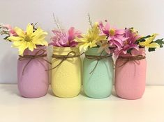 Spring Mason Jars Set of Easter Mason Jars, Pastel Mason Jars, Baby Shower Mason Jars, Nursery Decorations, Spring Wedding Decorations Gold Mason Jars, Distressed Mason Jars, Glitter Jars, Mason Jar Centerpieces, Painted Mason Jars, Crafts With Glass Jars, Mason Jar Crafts, Spring Wedding Decorations, Diy Easter Decorations