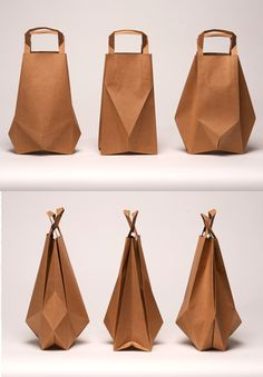 Paper Bags by Ilvy Jacobs - transforms the usual shapes of paper bags by using geometric paper folding techniques. The idea behind them was to create paper bags that consumers wouldn't want to through away. The neat geometric forms created are really special.