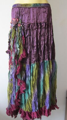 satin and rainbow chiffon vintage inspired gothic gypsy skirt/dress m to xl