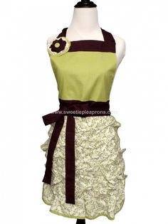 Green & White Floral with Brown Ties Apron - Grandway