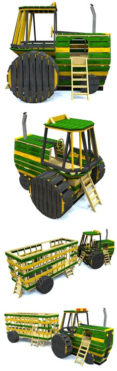 Cool farm tractor playhouse plan.  All made from lumber you can get at your…