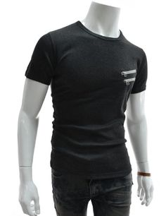 Amazon.com: TheLees (GTS07) Mens Slim Double Zipper Patched Round Neck Tshirts: Clothing