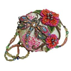 Damsel in Flight by Mary Frances. Gorgeous round handbag with beaded dragonfly and flowers