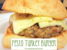 Turkey Pesto Burgers - soo good! Used 1/4 cup garlic bread crumbs and 1/4 whole wheat bread crumbs, instead of all plain. Added chopped onion. Served with provolone, instead of pepperjack, and some pesto mayo.