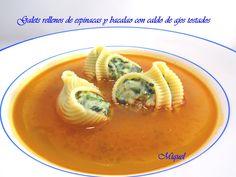 Les receptes del Miquel: Galets rellenos de espinacas y bacalao con caldo de ajos tostados
