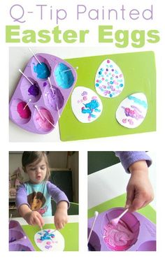 Work on fine motor skills while making a fun Easter craft. These q-tip painted Easter eggs are perfect for toddlers.