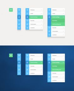 Various manifestations of a vertical navigation in a responsive layout, expanding/accordion menu, simple iconography Interaktives Design, App Ui Design, Dashboard Design, Flat Design, Navigation Design, Android Design, Site Design, Gui Interface, User Interface Design