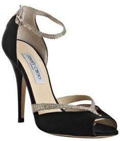 Jimmy Choo black satin 'Lane' glitter peep toe d'orsay pumps