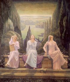 L'ecole du silence by Jean Delville... is it bizarre that I watch them gazing at the sky and think that they are seeing the Nazi planes droning across the sky on their way to bomb Guernica?