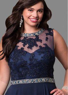Popular Chiffon Jewel Neckline A-line Plus Size Evening Dresses With Beaded Lace Appliques