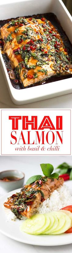 Thai Salmon with Chilli, Basil and Garlic! - serve with rice, sliced cucumbers, and tomato! : nutritionistmeetschef