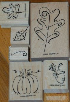 Stampin' Up Rubber Stamp Set of 6 Fall Whimsy