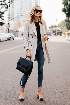 Blonde Woman Wearing Trench Coat Black Sweater Denim Skinny Jeans Chanel  Slingbacks Polene Number One Handbag Monochrome Black Fashion … e2e310a9c