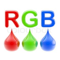 RGB color scheme: three glossy red, green and blue color drops ...