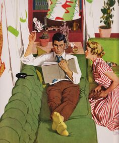 Relaxing on the sofa, art by Al Parker…