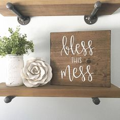 Bless This Mess Wood Sign Custom Wood Sign Hand Painted