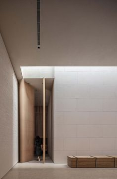 Elements of nature such as sunlight, air and water were considered architectural features by Waterfrom Design for Tea Community Center in Xiamen, China. Minimalist Interior, Minimalist Home, Modern Interior Design, Entrance Design, Door Design, House Design, Cafe Design, Design Design, Lobby Interior