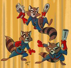 Rocket by Sibsy on DeviantArt Marvel Art, Marvel Heroes, Character Concept, Concept Art, Arte Nerd, Star Fox, Good Poses, Rocket Raccoon, Animated Cartoons