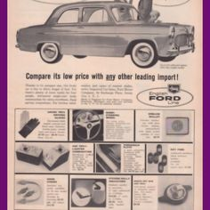 1958 Ford English Anglia Easier To Park Vintage AD from West Coast Vintage for $10.00 on Square Market English People, Vintage Ads, West Coast, Frugal, Ford, Easy, Vintage Advertisements, Budget, Retro Ads