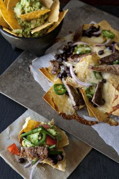 Carne Asada Nachos topped with Avocados from Mexico - perfect for the Super Bowl!