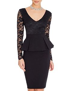 WOOSEA Women's V Neck Long Lace Sleeves Peplum Midi Cocktail Party Dress (Medium, Black). 65% Cotton 35% Polyester;Stretch. Deep V Neck,Elegant Peplum Design. Flroal Lace Long Sleeve,Knee Length,Low Temperature for Hand Washing. Suit for Work,Cocktail,Wedding Party,Evening Party. Please check the size information in the below product description before you decide to buy it!!!(Note:The Generic Amazon Size Chart is not our size).