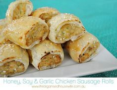 Honey, Soy and Garlic Chicken Sausage Rolls Recipe Type: Lunchbox Chicken Author: Katrina Prep time: 30 mins Cook time: 25 mins Total time: Chicken Sausage Rolls, Healthy Sausage Rolls, Savory Pastry, Savoury Tarts, Lunch Box Recipes, Sandwich Recipes, Garlic Chicken, Chicken Eggs, Soy Chicken