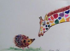 The Giraffe and the Hedgehog  Original  watercolour painting Size A4